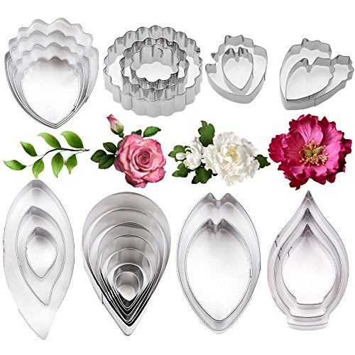 26Pcs Stainless Steel Gum Paste Flower and Leaf Cutter Set Fondant Flower Cookie Cutter Sugarcraft Flower Making Tool for Wedding,Birthday Cake Decorating