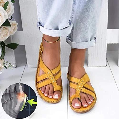 XXZ Sandalias Correctoras Juanetes Chanclas Mujer Sandalias Plataformas Verano Cuña Piel Plana Punta Abierta Tacon Zapato de Playa Piscina Cómodo Moda