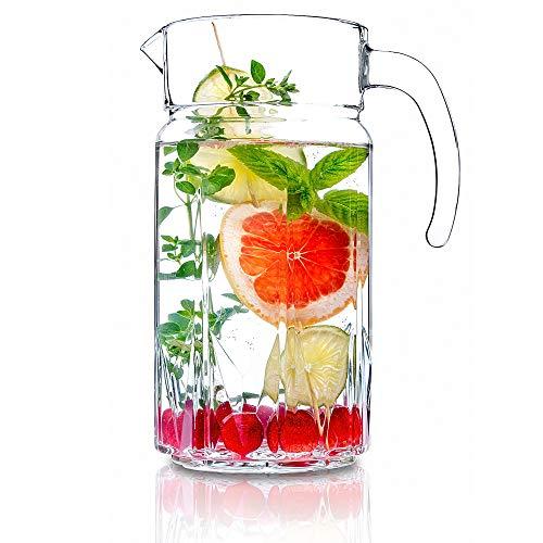 KADAX Krug, Glaskanne, Glaskrug aus robustem Glas, Wasserkrug mit Auslauf und handlichem Griff, Glaskaraffe für kalte Getränke, Saft, Milch, Eistee, transparent (Arne, 1.5L)