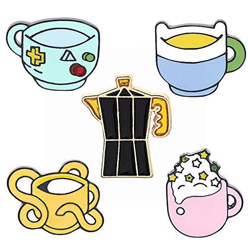 Springisso Creativa Personalidad Broche De Bolsa De Agua Caliente De La Broche De La Taza De Café Escudo De Limón Té Helado Decoración del Bolso De La Insignia De Regalo De La Joyería 5PCS
