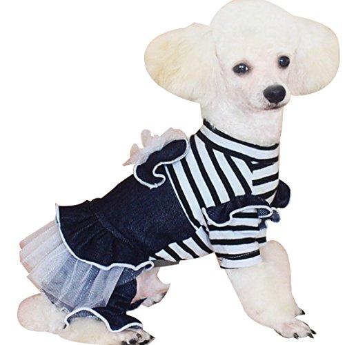 (ボラ-キキ) Bole-kk ペット服 犬 服 つなぎ オーバーオール ロンパース デニムスカートドッグウェア 小型犬 中型犬 ワンピース ドレス 犬の服 (XL)
