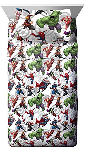 Jay Franco Marvel Avengers Marvel Team Twin Sheet Set - Super Soft and Cozy Kid's Bedding - Fade Resistant Polyester Microfiber Sheets (Official Marvel Product)