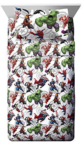 Jay Franco Marvel Avengers Marvel Team Full Sheet Set - Super Soft and Cozy Kid's Bedding - Fade Resistant Polyester Microfiber Sheets (Official Marvel Product)