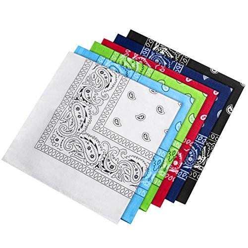 HBselect Bandana Kopftuch Halstuch 100% Baumwolle mit original Paisley und Cashew Muster für Damen 54×54cm (6 pcs)