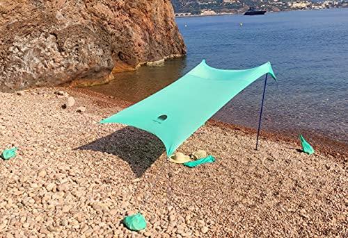 Shadyand – Gran tienda de playa familiar anti UV (UPF 50+) para hasta 5 personas, compacta y práctica – Cobertizo de playa para bebé, niño y adulto.