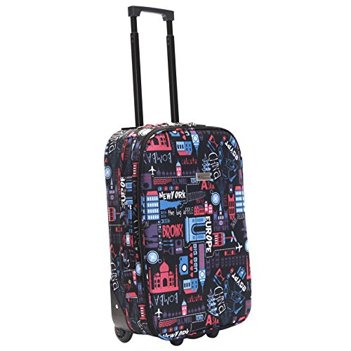 Slimbridge Cabin Hand Luggage Carry-on Suitcase Bag Super Lightweight 55 cm 2.3 kg 31 litres 2 Wheels, Algarve Black/Pink