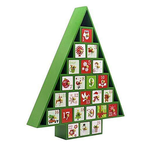 Cuenta atrás Calendario de Adviento de Madera Pintado Calendario Elk árbol de Navidad Calendario de Almacenamiento Caja de Regalo de los Ornamentos de Navidad (Color : Mint Green)