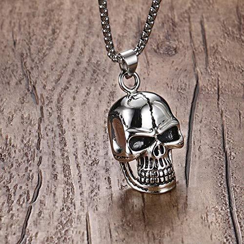 VBNMG halsketting voor heren, met doodshoofd-hanger, van roestvrij staal, voor mannen, zilverkleurig, biker, punk, mannelijk, met 24 kettingen, halloween-sieraden