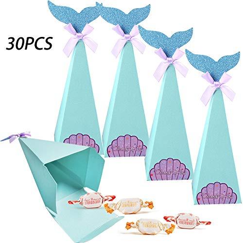Meerjungfrau Geschenkboxen Candy Papiertüten Dekorative Süßigkeiten Papierbox, für Hochzeit Kindergarten Geburtstag Party Babyparty Brautdusche (30 Stück)