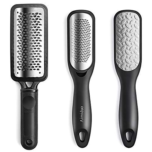 Foot File Callus Remover,Colossal Foot Rasp and Professional Foot Scrubber Pedicure Kit to Remove Hard Skin for Wet and Dry Feet,Surgical Grade Stainless Steel File (black and silvery)