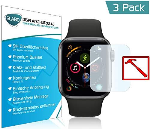 Slabo 3 x Premium Pellicola Protettiva in Vetro Temperato per Watch Series 4 (40mm) | Series 5 (40mm) Tempered Glass Crystal Clear 9H