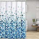 Molbory Duschvorhänge, Waschbar Badvorhänge aus Polyester, Wasserdicht Anti-Schimmel, Anti-Bakteriell mit 12 Duschvorhangringe Design, 180 x 180cm(Blaue Blase)