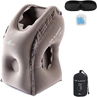 leizhan TRAVELSKY Travel Inflatable Pillow with Eye Mask and Earplugs - Applicable for Airplane Long Flight Sleep/Train Trip/Office Napping - 10 s Quickly inflated/deflated, Portable