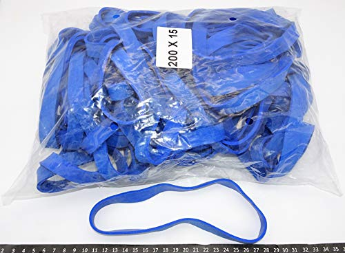 Progom - Gomas Elasticas - 200(ø127) mm x 15mm x 3mm - Azul - Ultra grueso/resistante - Bolsa de 1kg