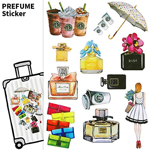 YUHANG Retro perfume items suitcase stickers waterproof laptop guitar piano case luggage stickers cabin stickers