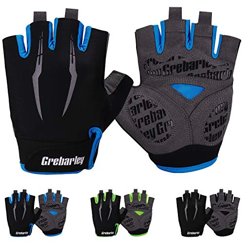 Grebarley Cycling Gloves Bike Gloves Bicycle Gloves MTB Gloves Road Anti-Slip Shock-Absorbing Gel Pad Light Weight Breathable Mountain Biking Gloves for Men Women (Blue, L)