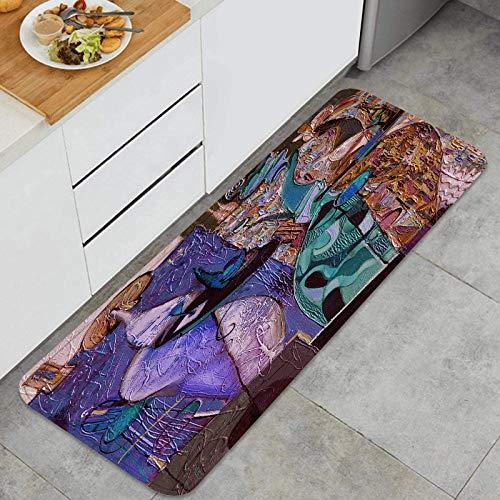 TTLUCKY Juegos de alfombras de Cocina Multiusos,Pintura al óleo Artista Roman nogin Bevy,Alfombrillas cómodas para Uso en el Piso de Cocina súper absorbentes y Antideslizantes