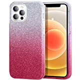 zelaxy Case Compatible with iPhone 12 / iPhone 12 Pro, Protective 3 Layer Anti-Slick Slim Bling Sparkly Glitter Cover for iPhone 12 / iPhone 12 Pro 6.1 inch (Pink Gradient)