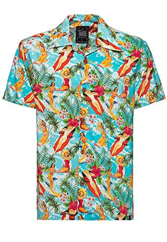 King Kerosin Camisa de manga corta para hombre, camisa hawaiana, corte recto, estampado vintage verano multicolor XXXXXL