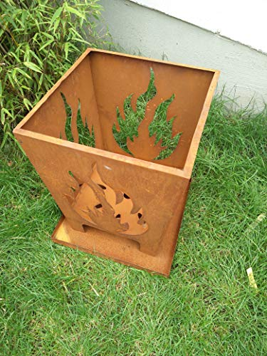 Zen Man Edelrost Garten Feuerschale Rost Feuerschale Feuerkorb aus Metall Rostig Feuerschale H48*40cm 1mm 101527