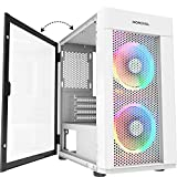 MOROVOL MESH Micro ATX Tower 2 PCS 120MM ARGB Fans Computer Case USB 3.0 Ports Opening Tempered Glass Panel & Mesh Front Panel Airflow Gaming PC Case (TW7-S2-WT)