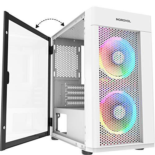 MOROVOL MESH Micro-ATX Tower 2 PCS 120MM ARGB Fans Computer Case USB 3.0 Ports Opening Tempered Glass Panel & Mesh Front Panel Airflow Gaming PC Case (White)