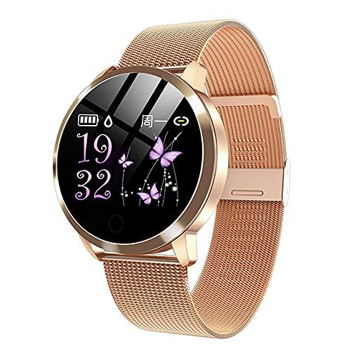 2021 Smart Watch Women a Prueba de Agua Monitor de Ritmo cardíaco de Las señoras Reloj Deportivo Fitness Tracker Hombres Smartwatch para Android iOS, Monsteramy (Color : Mesh Gold)