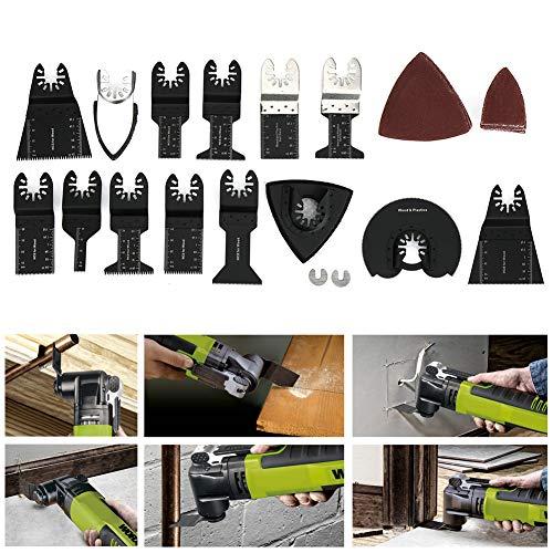 Hojas de sierra de diente de sierra onduladas Kit de hojas de sierra negras Hojas de sierra multifunción multifunción para carpintería 56 piezas para corte de madera