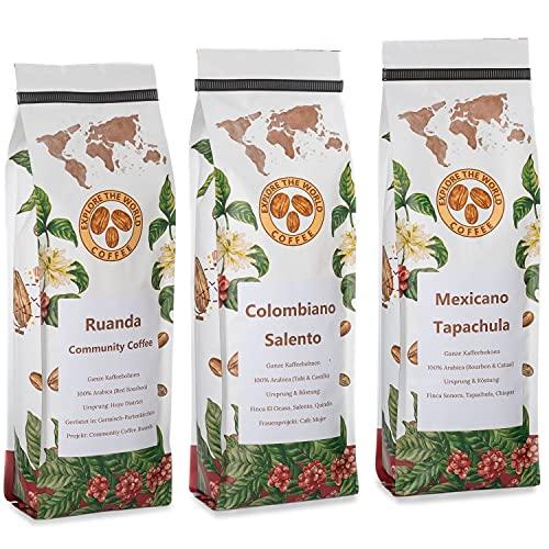 EXPLORE THE WORLD COFFEE Kaffeebohnen Probierset - Helle Röstung 3x500g Ruanda, Kolumbien, Mexiko Kaffee Set - Filterkaffee Set - 100% Arabica Bohnen - Röstkaffee (Probierset ohne Geschenkverpackung)