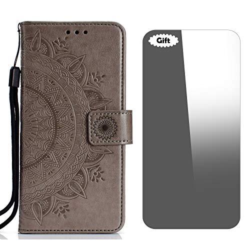 LG V30/LG V30 Plus Hülle, Conber Lederhülle Handyhülle + [Frei Schutzfolie], Totem Stoßsichere Kartenfach PU Tasche Leder Flip Hülle Cover Schutzhülle für LG V30/V30+/V30S ThinQ - Grau