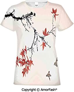 PUTIEN Fish Lovely Printed T-Shirts,Crew Neck T-Shirt of Girls,Polyester,Asian Inspired