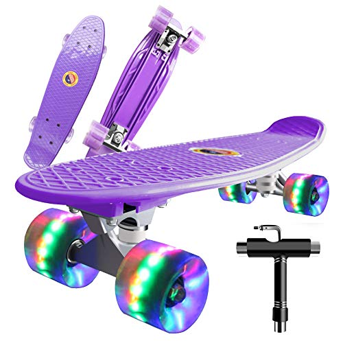 Saramond Skateboard komplett 55 cm Mini-Cruiser Retro-Skateboard für Kinder Jungen Mädchen Jugendliche Erwachsene Anfänger, LED-Blitzräder mit All-in-One Skate T-Tool (lila)