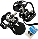 XEWEA Spin Pedals with Toe Clip Straps, Dual Platform Compatible with Shimano SPD Clipless Pedals, Outdoor/Indoor/Exercise/Peloton Mountain Bicycle Pedals 9/16''