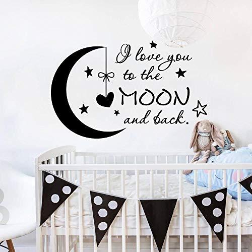 Ajcwhml Ich Liebe Dich zum Mond und die Wandtattoos Kinderzimmer bieten Abziehbilder Mond Sterne Wandsticker Home Wanddekoration Kinder Kinderzimmer