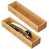 mDesign Juego de 2 cajas organizadoras de 30,5 cm x 7,6 cm x 5,1 cm – Caja rectangular d...