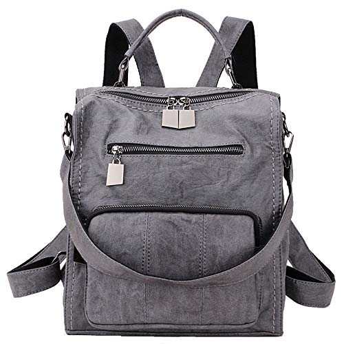 Women Backpack Purse,RAVUO Ladies PU Leather Casual Shoulder Bag mini Backpack Three Ways to Carry Grey
