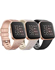 Pack 3 Soft Silicone Bands Compatible for Fitbit Versa 2 / Fitbit Versa/Fitbit Versa Lite Adjustable Sport Bands for Women Men Small Large (Small, Glitter Rose Gold+Glitter Champagne Gold+Black)