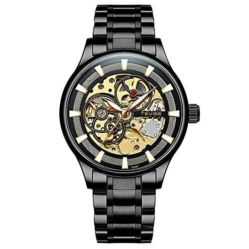 JTTM Relojes De Pulsera Mecánicos para Hombre Reloj Automático Esqueleto Clásico para Hombres Reloj con Número De Roma De Acero Inoxidable Resistente Al Agua, Viento Automático,Negro