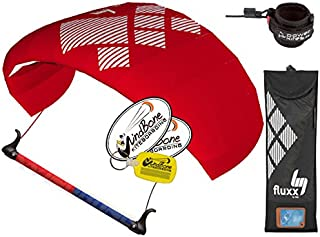 HQ4 Fluxx 1.3M Trainer Kite TR Plus Safety Leash Bundle (4 Items) Includes Safety Wrist Leash System + WindBone Kite Lifestyle Decals + Key Chain : Control Bar Foil Traction