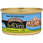 AvoDerm Natural Grain Free Wet Cat Food, Tuna & Crab in Gravy, 5-Ounce Cans
