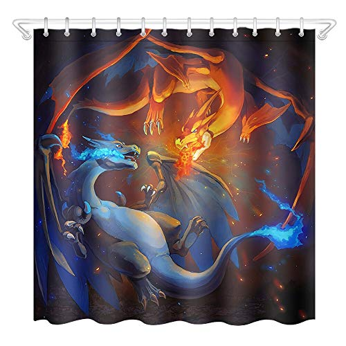 llllll Bad Polyester wasserdicht Duschvorhang-Pokemon Dragon 3485-Mat + 12Hook 183X183CM