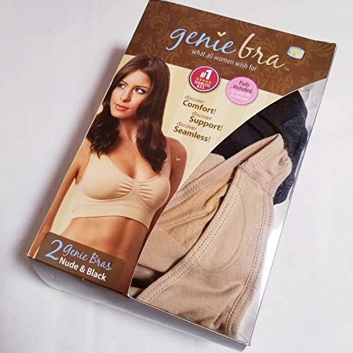 Genie Bra Women's Twin Pack, Nude/Black, Medium