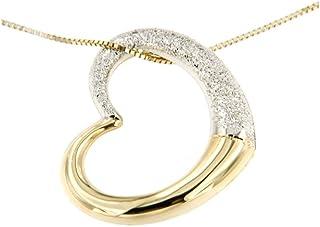 forme di Lucchetta per Donna - Collana con Cuore in Oro giallo con effetto polvere di Diamante - Made in Italy Certificato...