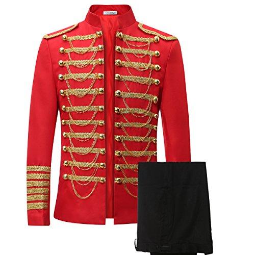 Men's Luxury Slim Fit Stylish Suit Blazer Jacket & Trousers Set 2-Piece,Red,XX-Large