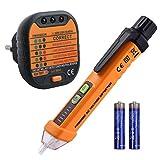 Neoteck Kit de Prueba Eléctrica Incluye 12-1000V AC un Detector de Voltaje sin Contacto y Comprobador de Enchufe para Laboratorio Taller Educación Industria