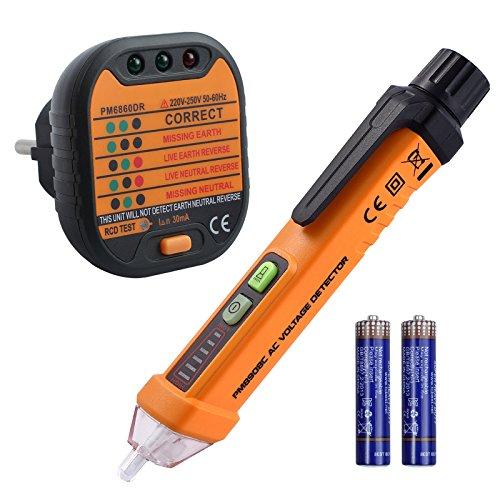 Berührungsloser Spannungsprüfer und Steckdose Tester-Kit mit LED Taschenlampe Vorinstallierte Batterie