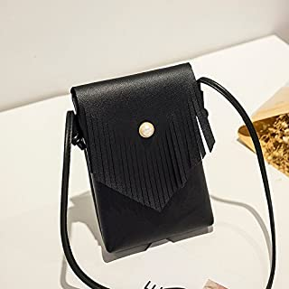 2018 New Women's Shoulder Bag Small Bag Female Summer Small Fresh Simple Fashion Soft Leather Simple Wild (Color : Black, Size : S)