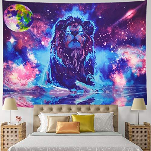 Starry Fantasy Löwe Wandteppich Mond Löwe Psychedelic Constellation Wall Hanging Indian Hippie Colorful Leo Universe Galaxy Tapisry Large-78.8