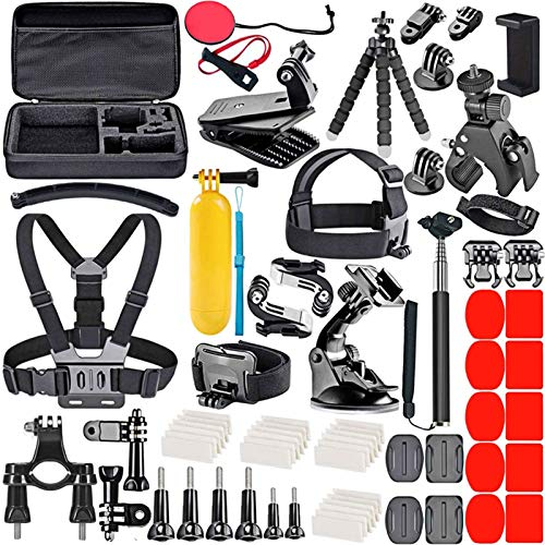 Kit Accessori per GoPro Max Hero 6/7/8/9 Action Cam Black, Attacchi GoPro Moto, per Session Fusion, XIAOYI APEMAN (70 pezzi)