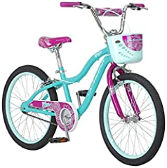 This Schwinn Elm girl's bike with 20-inch wheels is designed for children 6 years old and up, or 48 - 60 inches tall. The Elm is perfect for riding to the park or riding on the sidewalk around the neighborhood. With Schwinn's SmartStart Technology, t...